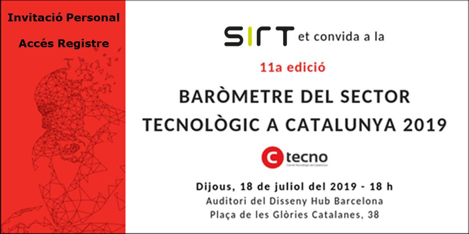 SIRT te invita a la presentación del «Barómetro del Sector Tecnológico en Cataluña 2019»